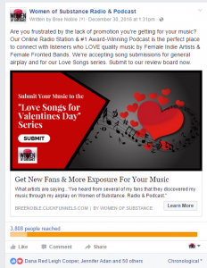 Conversion Ad Bree Noble Valentines Show Facebook Post Stats
