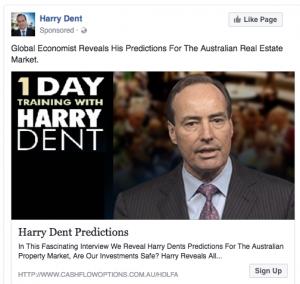 Harry Dent Facebook Post Ad 1